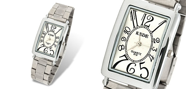 Steel Rectangular White Dial Men's Wrist Watch