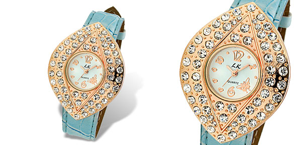 Baby Blue Leather Leaf Shaped Shiny Dial Rhinestone Lady's Watch