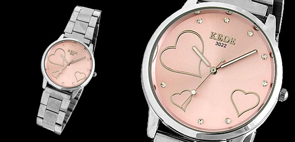 Steel Pink Dial Three Heart Girl's Rhinestone Watch