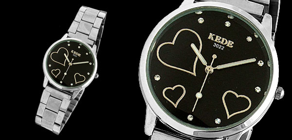 Steel Black Dial Three Heart Lady's Rhinestone Watch