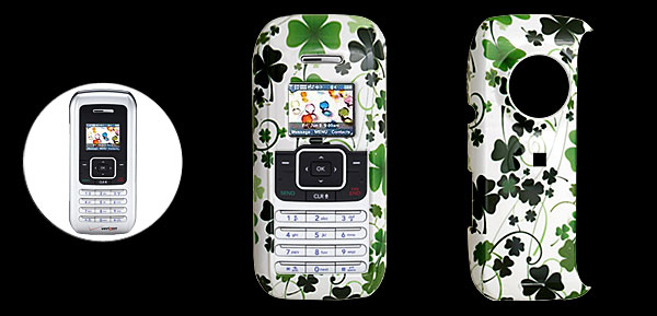 White Hard Plastic Case with Green Flower Pattern for LG VX9900