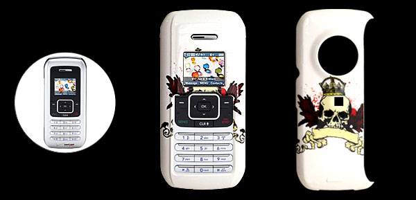 White Hard Plastic Case with Skull Pattern for LG VX9900