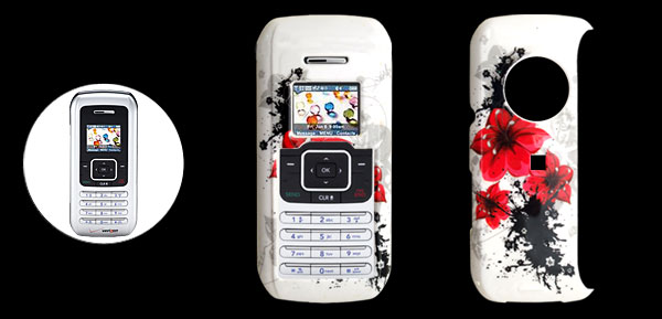 White Hard Plastic Case with Red Flower Pattern for LG VX9900