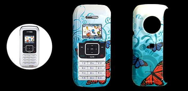 Blue Hard Plastic Case with Butterfly Pattern for LG VX9900