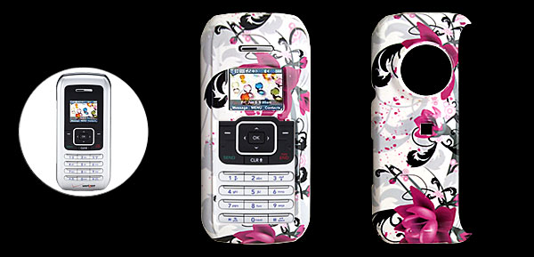 White Hard Plastic Case with Fuchsia Flower Pattern for LG VX9900