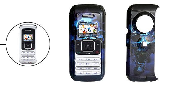 Black Hard Plastic Case with Blue Skull Pattern for LG VX9900