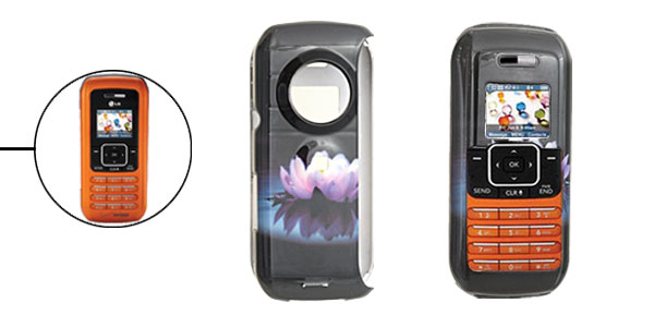 Black Hard Plastic Case with Lotus Flower Pattern for LG VX9900