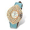 Baby Blue Leather Leaf Shaped Shiny Dial Rhinestone Lady\'s Watch