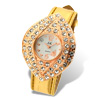 Golden Leather Leaf Shaped Shiny Dial Rhinestone Lady's Watch