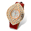 Red Leather Leaf Shaped Shiny Dial Rhinestone Lady\'s Watch