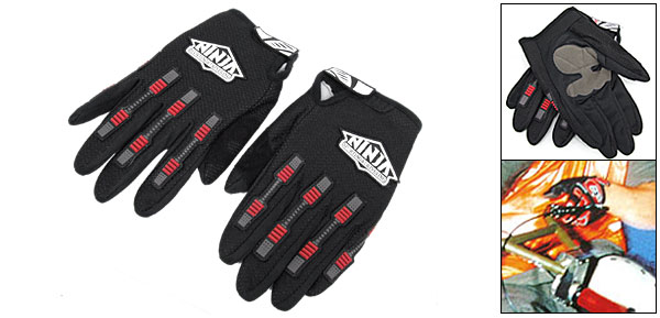 Black Extra Large Full Finger Sports Driving Mountain Bike Motorcycle Light Gloves