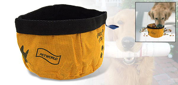 Travel Portable Pet Dog Cat Food Water Folding Bowl Yellow