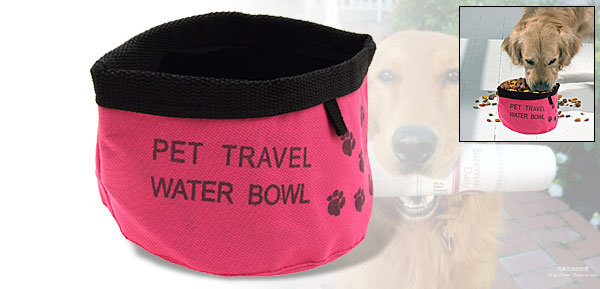 Pink Portable Pet Dog Cat Travel Food Water Folding Bowl