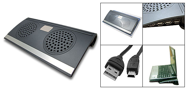 2 Fan Powerful Notebook Computer Cooler Pad + 4 Port USB Hub