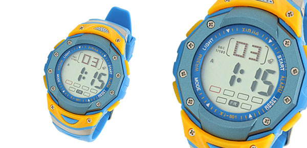 Sky Blue Digital Multifunction Water Resistant Sports Watch
