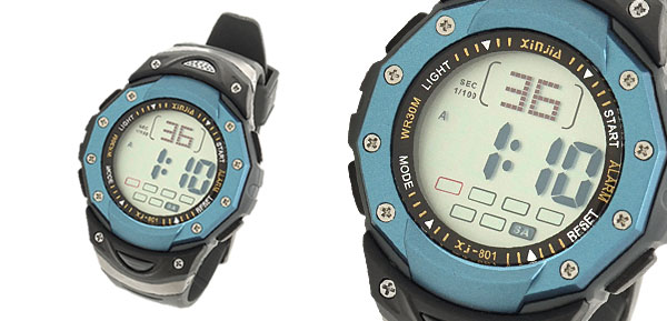 Unisex Digital Multifunction Water Resistant Sports Watch Blue Black