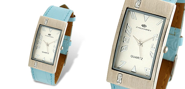 Rectangle Face Ladies Wrist Watch Baby Blue Leather Strap