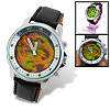 Magic Dragon Shadow in Dial Black Leather Round Men's Quartz Watch