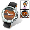 Black Leather Magic Dinosaur Head Shadow in Dial Round Quartz Man's Watch