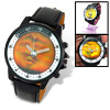 Magic Lion Shadow in Dial Black Leather Round Quartz Watch for Men