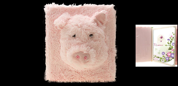 Stylish Soft Plush Cartoon Pig Photo Picture Album Case Pink