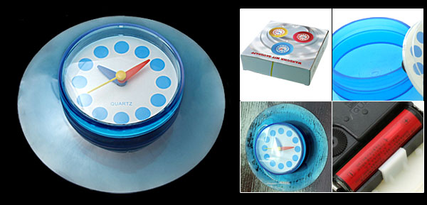 Sky Blue Stick Wall Door Desk Suction Quartz Clock