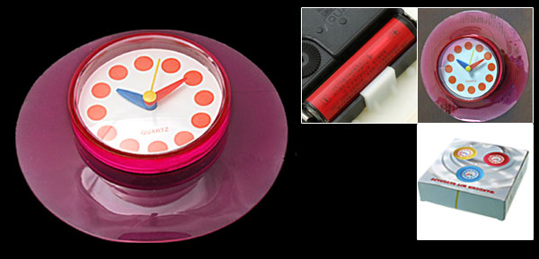 Stick Bedroom Wall Door Glass Suction Disc Quartz Clock Fuchsia