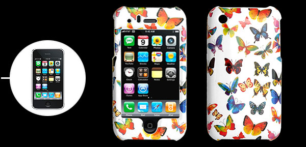 White Hard Plastic Case with Colorful Butterfly Pattern for Apple iPhone 3G