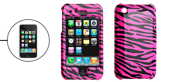 Hard Plastic Case with Purple Zebra Pattern for Apple iPhone 3G