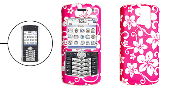 Fuchsia Hard Plastic Case with White Flower Pattern for Blackberry 8100 Pearl