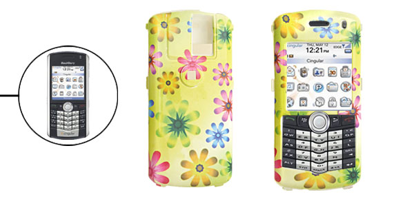 Colorful Flower Pattern Hard Plastic Case for Blackberry 8100 Pearl