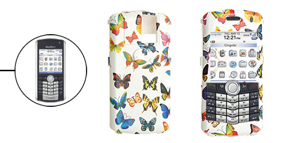Colorful Butterfly Pattern Plastic Protector Case for Blackberry 8100 Pearl