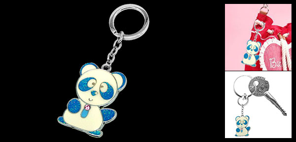 Blue Cute Panda Pendant Metal Keychain Key Ring