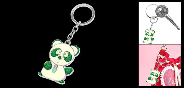 Colorful Cute Panda Pendant Metal Keychain Key Ring