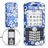 Blue Hard Plastic Case with White Flower Pattern for Blackberry 8100 Pearl