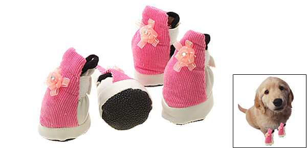 Pink and White Pet Puppy Protective Boots Dogshoes Booties
