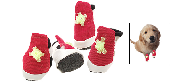 Pet Puppy Protective Boots Dogshoes Booties Red and White