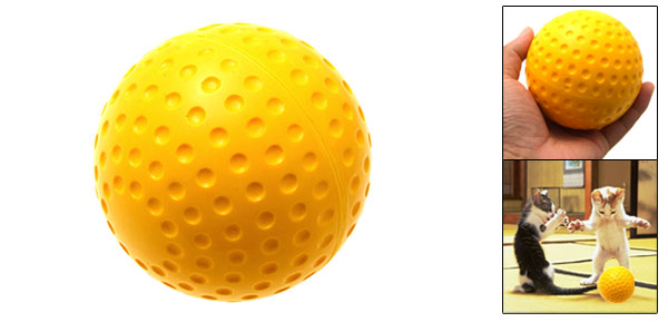 Yellow Cat Dog Pet's Push Play Ball Rough Tough Ball Gift