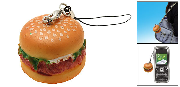 Stylish Hamburger Food Mobile Cell Phone Charm Dangle Strap