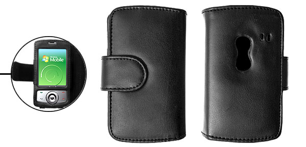 Black Wallet Style Leather Case Pouch for Dopod P860