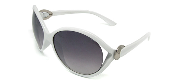 Cool Big Oval Lens Ladies Fashion White Frame Sunglasses