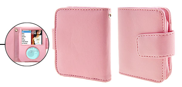 Wallet Style Pink Leather Protector Case for iPod Nano 3G