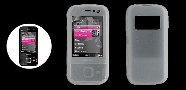 Clear White Protective Silicone Case Cover for Nokia N85