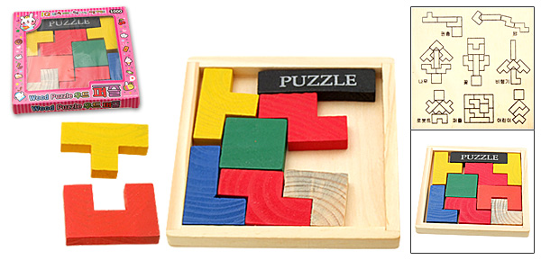 Colorful Wooden T Puzzle IQ Up Brain Teaser Toys Hobbies
