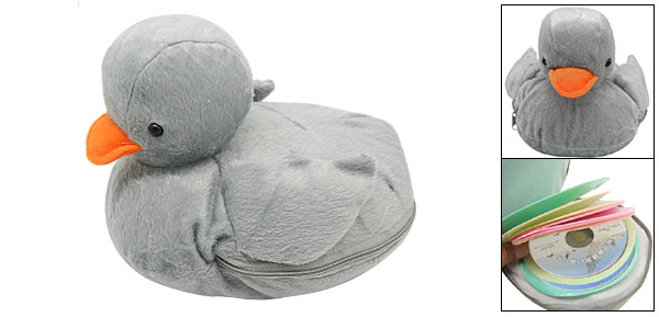Plush Grey Duck Portable CD DVD Carrying Case Storage Bag