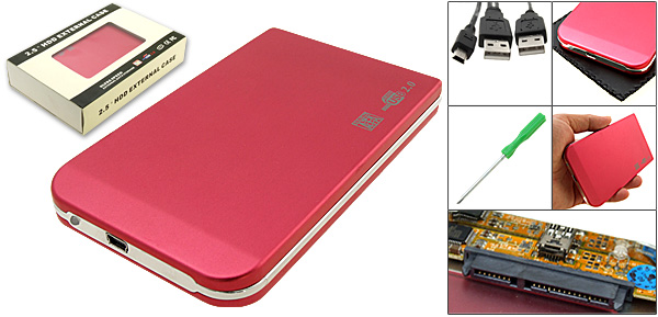 Aluminum USB 2.0 HDD External Enclosure Case for 2.5