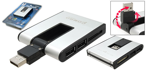 Multislot Card Reader/Writer + 3 Port USB 2.0 Hub