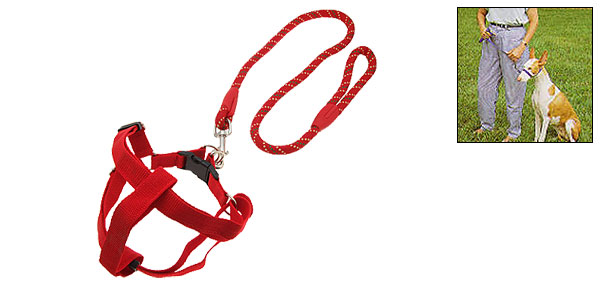 Nylon Medium Pet Dog Pulling Harness and Round Leash Red