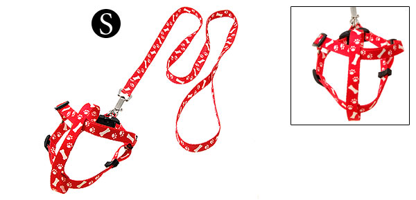 Red Step-in Dog Puppy Pulling Harness and Leash Set Small