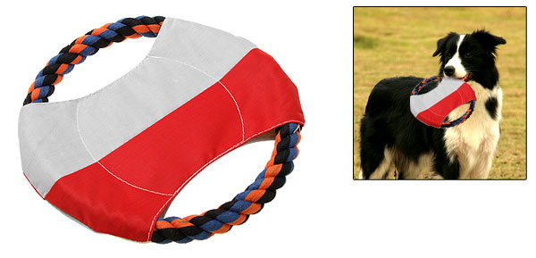 Pet Dog Puppy Training Catching Rope Flyer Frisbee Toy